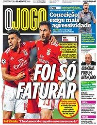 capa Jornal O Jogo de 30 agosto 2018