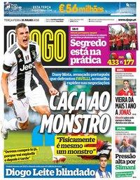 capa Jornal O Jogo de 31 julho 2018