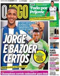 capa Jornal O Jogo de 31 agosto 2018