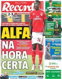 capa Jornal Record de 3 outubro 2018