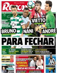 capa Jornal Record de 9 julho 2018