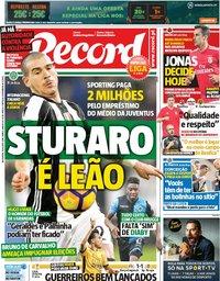 capa Jornal Record de 10 agosto 2018