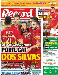 capa Jornal Record de 12 outubro 2018