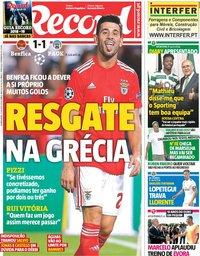 capa Jornal Record de 22 agosto 2018