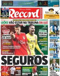 capa Jornal Record de 23 agosto 2018