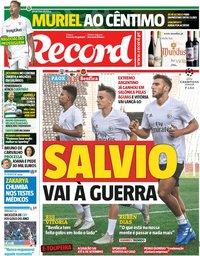 capa Jornal Record de 29 agosto 2018