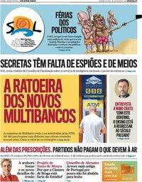 capa Jornal SOL de 21 julho 2018