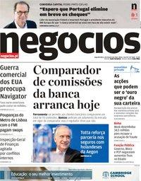 capa Jornal de Negócios de 1 outubro 2018