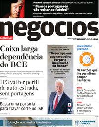 capa Jornal de Negócios de 2 julho 2018