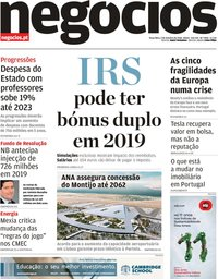 capa Jornal de Negócios de 2 outubro 2018
