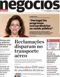 capa Jornal de Negócios de 4 julho 2018