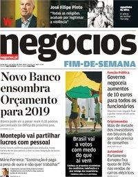 capa Jornal de Negócios de 4 outubro 2018
