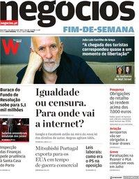 capa Jornal de Negócios de 6 julho 2018