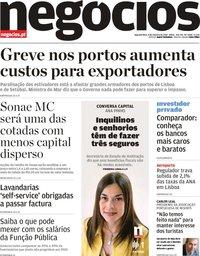 capa Jornal de Negócios de 8 outubro 2018