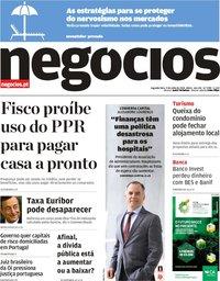 capa Jornal de Negócios de 9 julho 2018
