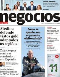 capa Jornal de Negócios de 9 outubro 2018