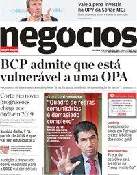 capa Jornal de Negócios de 10 outubro 2018