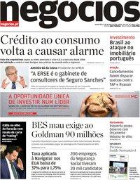 capa Jornal de Negócios de 11 outubro 2018