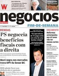 capa Jornal de Negócios de 12 outubro 2018