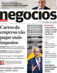 capa Jornal de Negócios de 15 outubro 2018