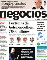 capa Jornal de Negócios de 16 julho 2018