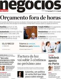 capa Jornal de Negócios de 16 outubro 2018