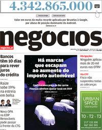 capa Jornal de Negócios de 19 julho 2018