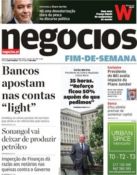 capa Jornal de Negócios de 20 julho 2018
