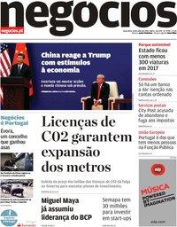 capa Jornal de Negócios de 24 julho 2018