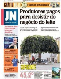 capa Jornal de Notícias de 3 agosto 2018