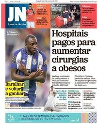 capa Jornal de Notícias de 3 setembro 2018
