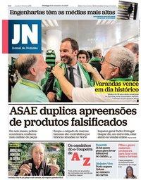 capa Jornal de Notícias de 9 setembro 2018