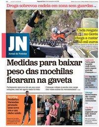 capa Jornal de Notícias de 10 setembro 2018