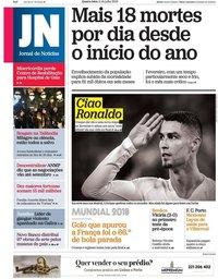 capa Jornal de Notícias de 11 julho 2018