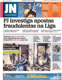 capa Jornal de Notícias de 14 agosto 2018
