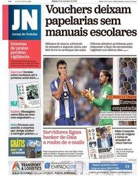 capa Jornal de Notícias de 15 setembro 2018