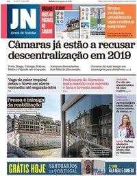 capa Jornal de Notícias de 18 agosto 2018