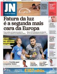 capa Jornal de Notícias de 20 agosto 2018
