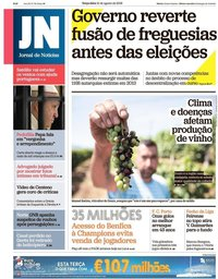 capa Jornal de Notícias de 21 agosto 2018