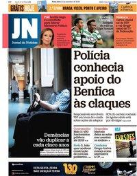 capa Jornal de Notícias de 21 setembro 2018