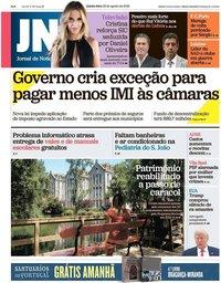 capa Jornal de Notícias de 23 agosto 2018