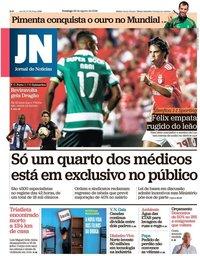 capa Jornal de Notícias de 26 agosto 2018
