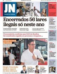 capa Jornal de Notícias de 28 agosto 2018