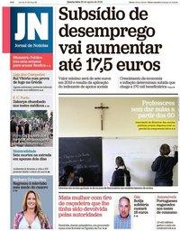 capa Jornal de Notícias de 29 agosto 2018