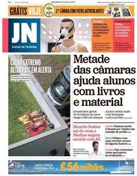 capa Jornal de Notícias de 31 julho 2018