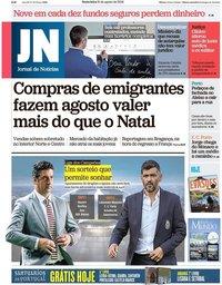 capa Jornal de Notícias de 31 agosto 2018