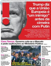 capa Jornal i de 16 julho 2018