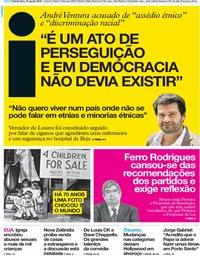 capa Jornal i de 16 agosto 2018