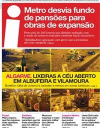 capa Jornal i de 29 agosto 2018