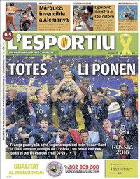 capa L'Esportiu de 16 julho 2018